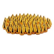 100pcs Screwback Gold Cone Spikes Studs Leathercraft DIY Punk Spots Bullet W6Q2