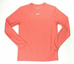 Nike Dry Long Sleeve Tee UV Training Top Men's M Orange Shirt BQ6965