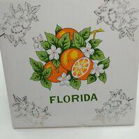 Vintage 1970's Ceramic Trivet Tile Florida orange wall decor Tile Japan
