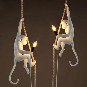 Artistic Resin Monkey Single Exposed Bulb Hemp Rope Hanging Pendant Lights Loft