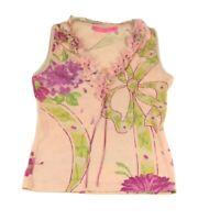 VTG Emanuel Ungaro Floral Tank Top Wool Silk Size S Italy Spring Sweater Vest