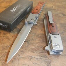 "MTECH Woodgrain 8.5"" Straight Edge Stiletto Folder Folding Pocket Knife NEW!"