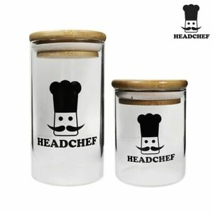 Head Chef Herb Glass Jar Stash Pot Container Storage Small & Large - FREE POST