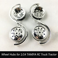 For 1/14 TAMIYA RC Truck Tractor Accessory Electroplated Plastic Wheel Hubs