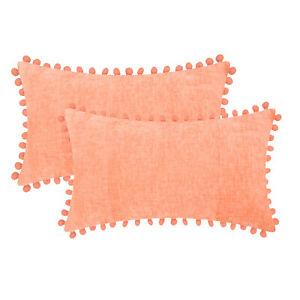 "2Pcs Cantaloupe Pom Poms Bolster Pillow Cases Shell Solid Chenille Sofa 12 x 20"""