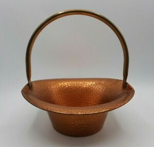 Vintage Coppercraft Guild Hammered Copper Basket with Brass Handle Taunton, MA