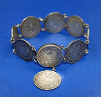 altes Münzarmband 1/2 Mark Deutsches Reich 9 Münzen 1919 Silber