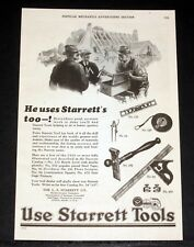 1928 OLD MAGAZINE PRINT AD, STARRETT TOOLS, BETTER QUICKER EASIER CONSTRUCTION!