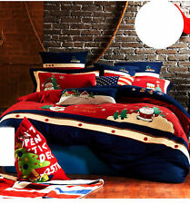A31 Double Bed Sheet + Quilt Cover + Pillow Case Christmas Bedding Bed Set Z