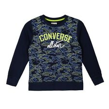 Boys Converse All Stars Camo Sweatshirt 964910 - Navy Blue