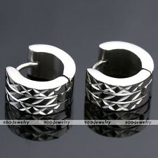 Pair Punk Stainless Steel Round Hoop Huggies Mens Womens Ear Stud Earrings Gift