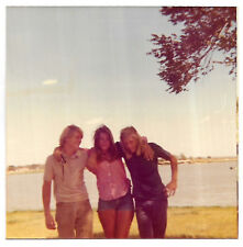 Vintage 70s PHOTO Girl & Young Guys At Lake Beach