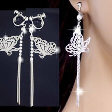 "#E954A 3.2"" Long CLIP ON screw back Earrings Polished Thin Butterfly Tassel Drop"
