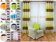 Unlined Ready Made Striped Curtains Eyelet Ring top Modern Design -