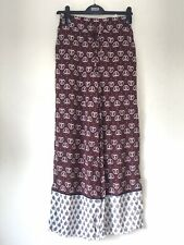 M&S Trousers 8 Short Wide Leg Floral Burgundy Boho Holiday Summer Palazzo BNWT