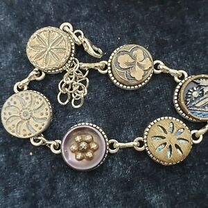 Antique Brass metal  Button Bracelet with tinted buttons