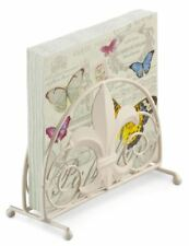 FRENCH BUTTERFLY PINK 20 X 3 PLY PAPER NAPKINS & FLEUR DE LYS NAPKIN HOLDER SET