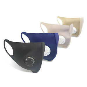 Fabric Face Covering Mask With Built In Breathing Valve   Available In 4 Colours