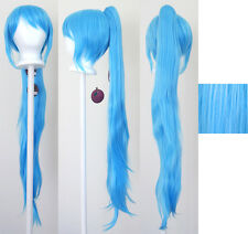 40'' Wavy Claw Clip Pony Tail Sky Blue Cosplay Wig Clip Only NEW
