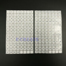 "800 Sticky Numbered Labels 1 To 200 White & Round 0.39"" Stickers Black Numbers"