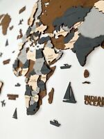 """Wooden World Wall Map in Dark Brown and Grey L size 59"""" x 31"""""""