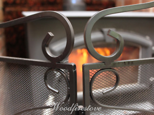 FIRE SCREEN / EMBER GUARD SHIELD / FIRESCREEN / WROUGHT IRON 3 PANEL (Pavone)