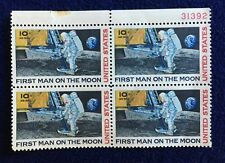 Vintage 1969 'First Man on the Moon' 10-Cent Stamps Unused Block of 4