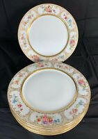 Vintage Limoges Dinner Plates Set Of 6 Wm. Guerin & Co. Floral and Gold