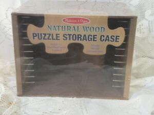 NEW ~ Melissa And Doug Natural Wooden Puzzle Storage Rack case holds 12 puzzles