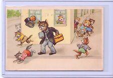 VINTAGE DRESSED CATS KITTENS TEACHER LEAVES THE SCHOOL POSTCARD 1951