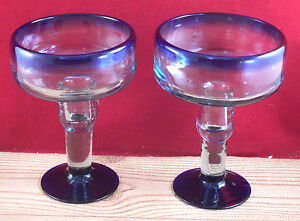 Cobalt Blue Margarita Glass Drink Ware Bar Ware Glasses 2 pcs C 4