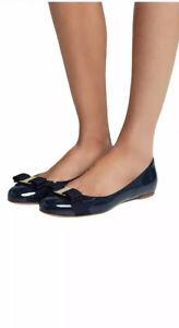 Salvatore Ferragamo Varina Bow Blue Ballet Flats Size 6.5
