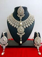 Indian Bollywood Style Designer Rose Gold Plated Fashion Jewelry Necklace Set