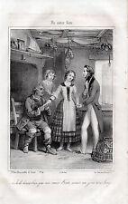 """Gravure """" Ma soeur Kate sera un jour une Lady """"    1842"""