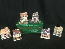 Set of 6 Dickens Village Bell Lites (Light Covers) Handcrafted Handpainted