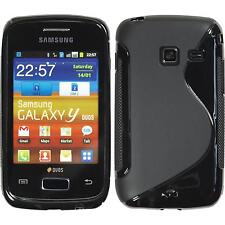Silicone Case for Samsung Galaxy Y Duos S-Style black + protective foils