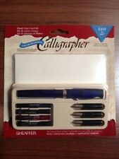 LOT OF 4 VINTAGE SHEAFFER CALLIGRAPHY SET - PEN, 3 NIBS, 4 COLORS, CARDS, & ENV