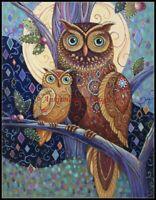 Owls - Chart Counted Cross Stitch Patterns Needlework DIY DMC Color 14 ct Aida
