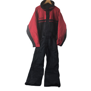 COLUMBIA BLACK & RED FULL ZIP BELTED SNOW SKI SUIT MENS SIZE XL 3L