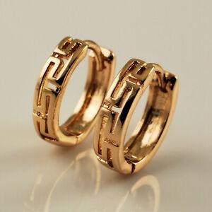 9ct Yellow Gold Filled 12mm Filigree Greek Key Huggie Hoop Earrings UK Gift