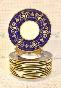 Set of 12 Minton Cobalt Blue Porcelain Dinner Plates With Gilt Enamel Borders