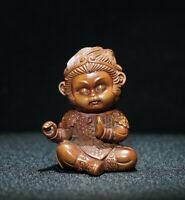 Collect Old Boxwood Japanese Netsuke carved Monkey King pray Statue figurines