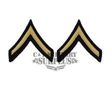 US Army Dress Blue Chevron E-2 Private Gold on Blue New Set