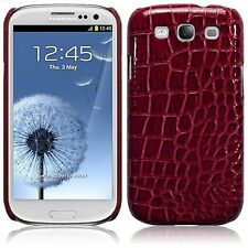 For Samsung Galaxy s3 i9300 Red Croc Skin Pu Leather Hard Back Case Cover