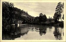 Rudelsburg und Saaleck bei Bad Kösen alte AK ~1930/40 Blick über den See Boot