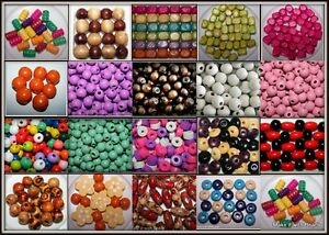 Mixed Wood Wooden Craft Beads U Pick Colour Size Shape Free UK P&P Offer