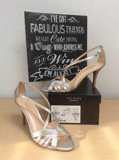 TALBOTS (GETTY) Women's Silver Metallic Leather Ankle Strap Heels Size 9N NIB