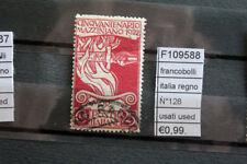 FRANCOBOLLI ITALIA REGNO N°128 USATI STAMPS ITALY USED (F109588)
