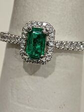 Emerald and Diamond Ring. 1/3ct. 1/2ct total Very Fine Quality. !4K White Gold
