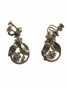Seltene lange silberne Ohrringe mit blauen Steinen zum schrauben  🌹